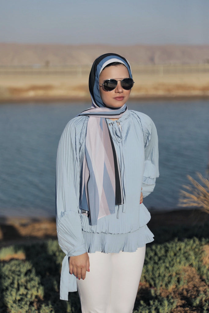 Pliss Princess Blouse - Baby Blue