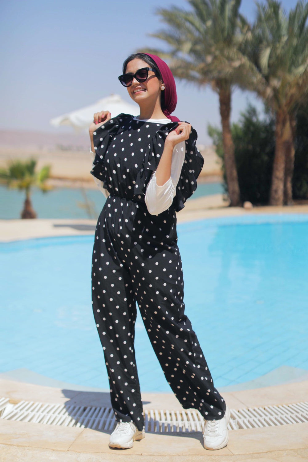 Polka Dot Jumpsuit - Black