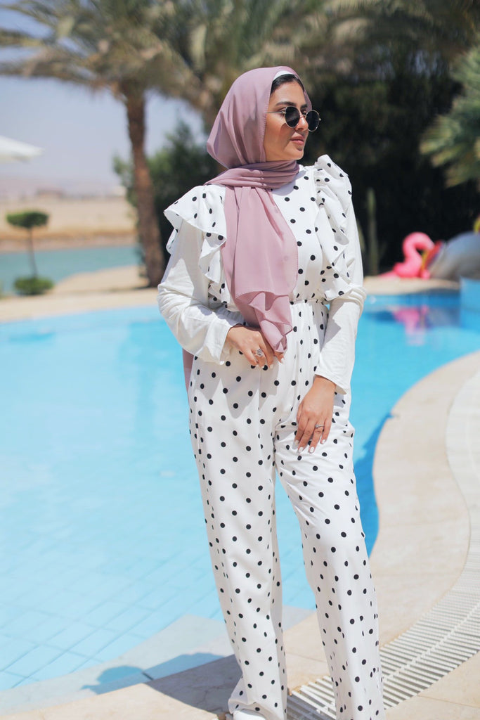 Polka Dot Jumpsuit - Cream