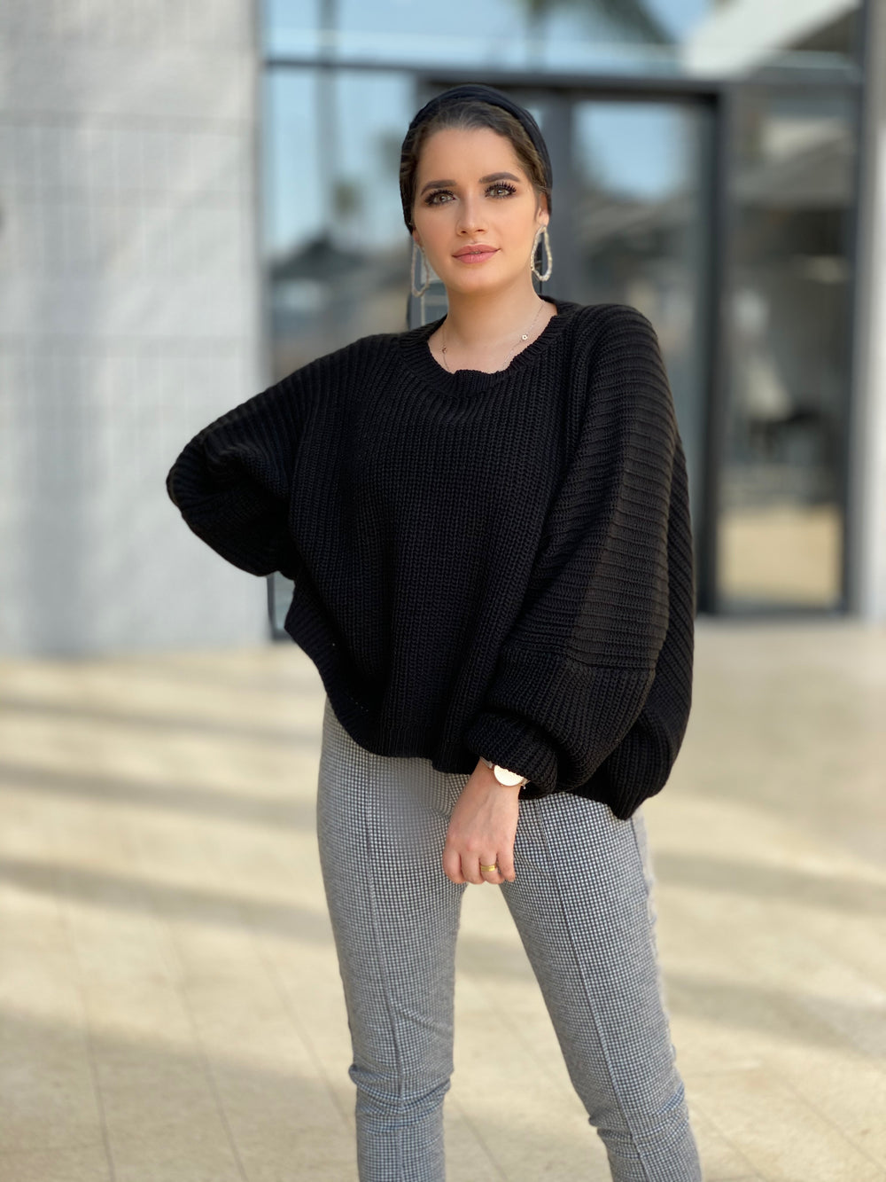 Oversized Knit Sweater Black Charcoal