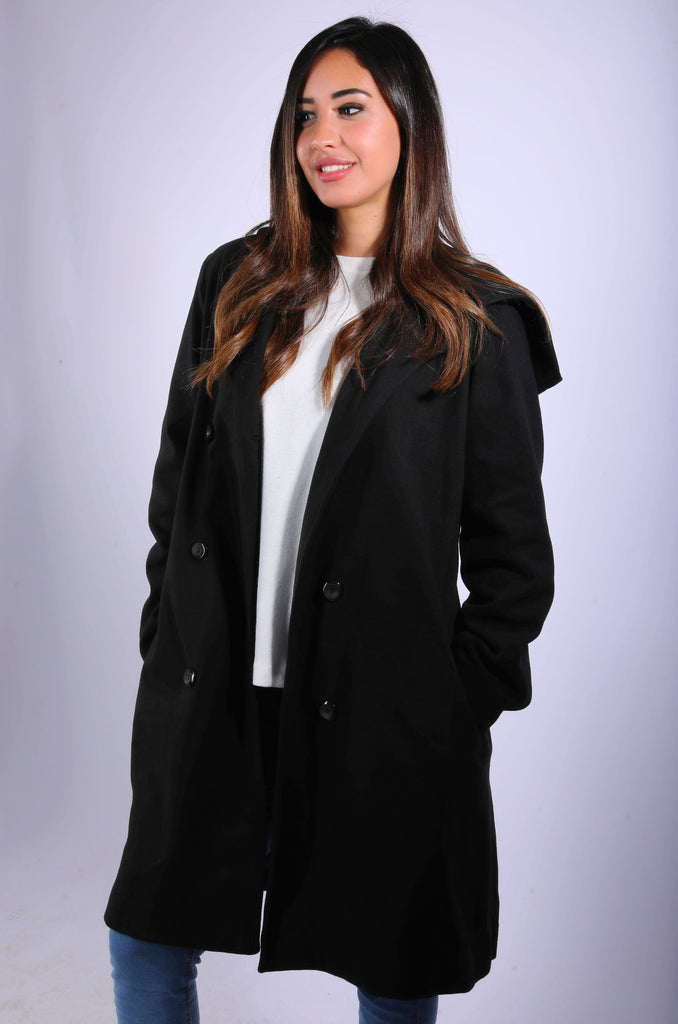 Winter Hooded Coat Black