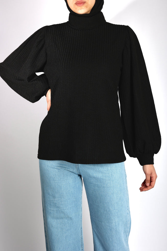 Puffy Blouse Black