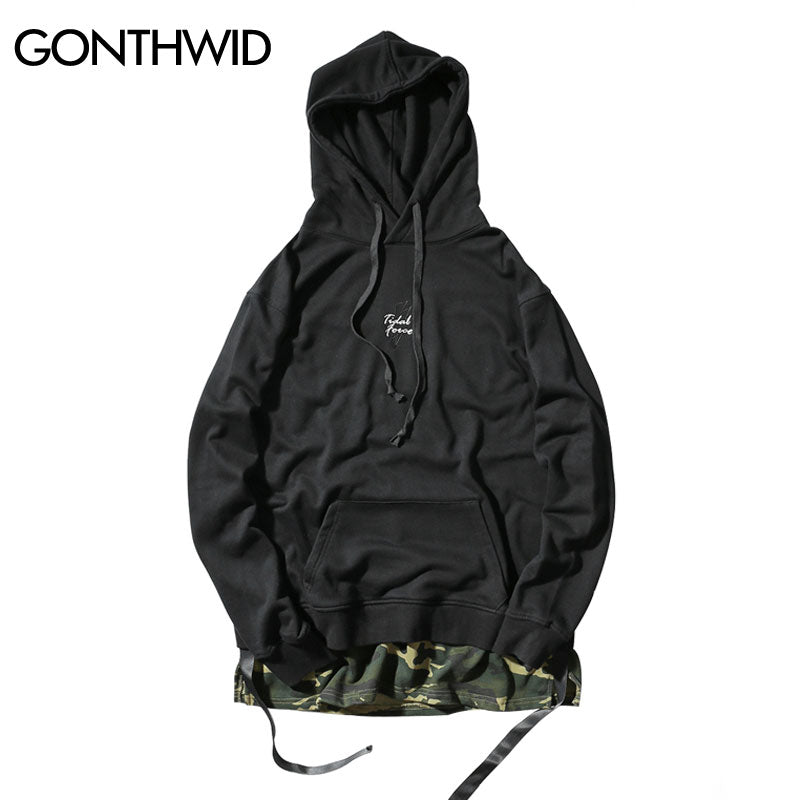 Ripped Hip Hop Camouflage Patchwork Hoodies