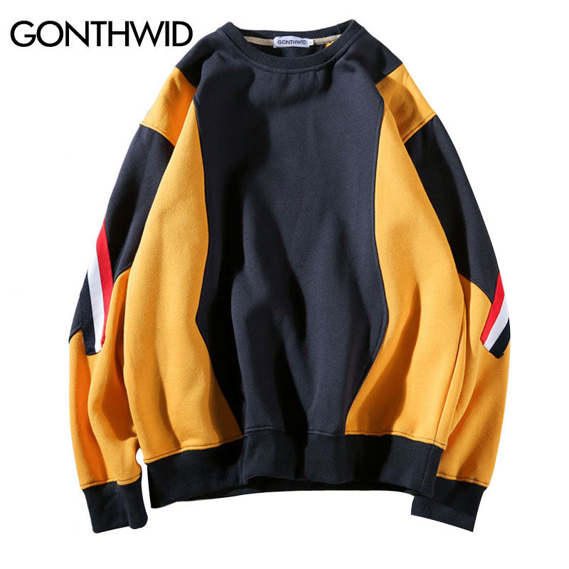 Color Block Patchwork Fleece Sweatshirt