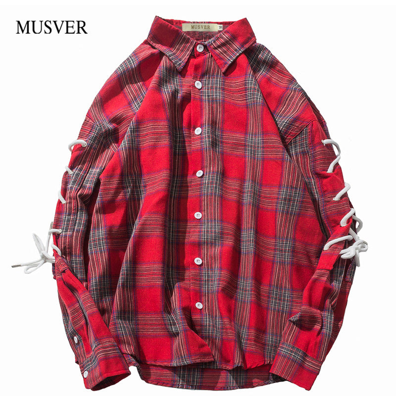 Plaid Lace Up Long Sleeve Shirts