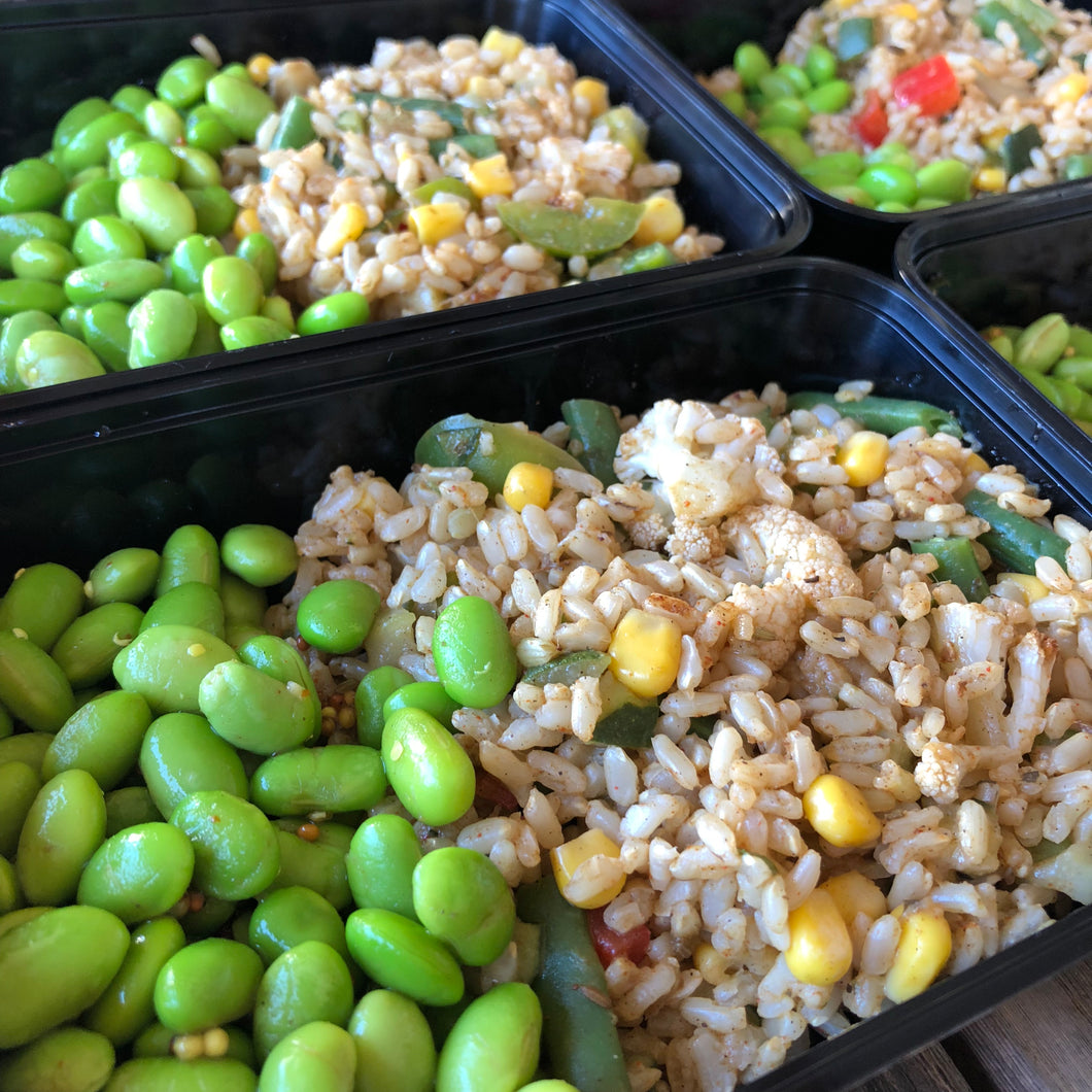 Edamame Beans, Rice Salad and Barbecue Sauce