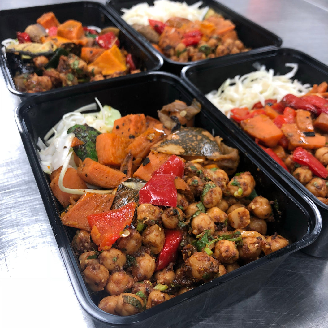 Mediterranean Charred Vegetable Salad and Roasted Chickpeas