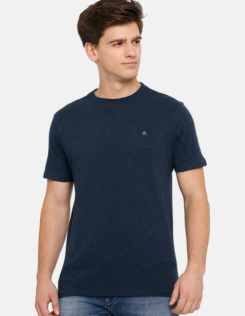 Men's Navy Melange Solid Crew Neck T-Shirt