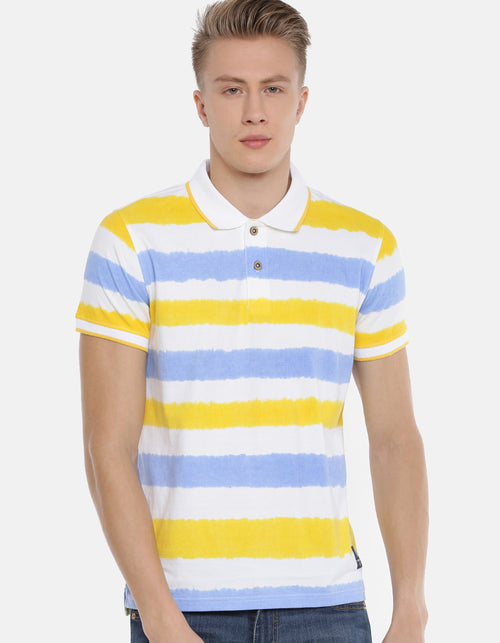 Men's Multi Color Striped Polo T-shirt