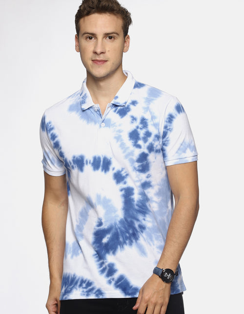 Men White Tie & Dye Polo T-shirt
