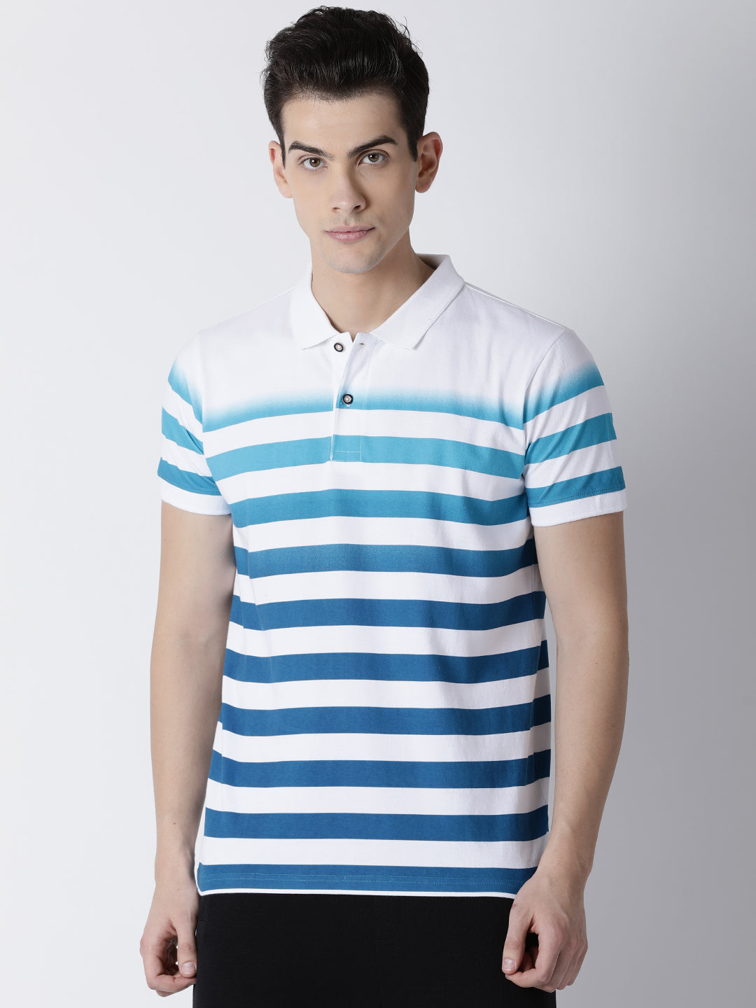 Men's AOP Gradiation Striped Polo T-Shirt
