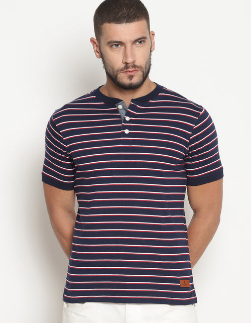 Men's Yarn Dyed Striped Henley T- Shirt