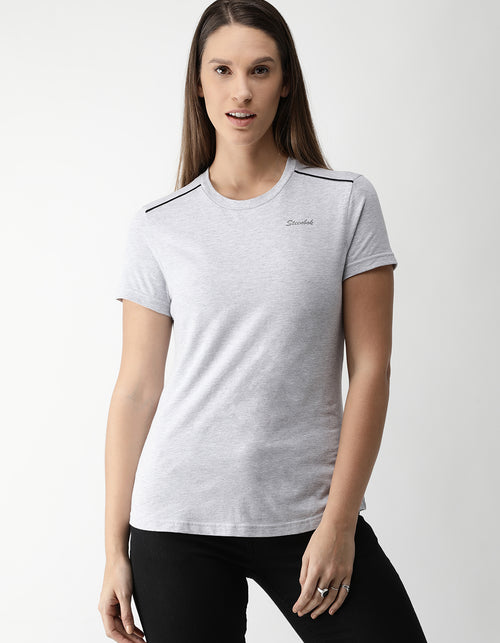 Women's Grey Melange Odour-Free Crew Neck T-Shirt