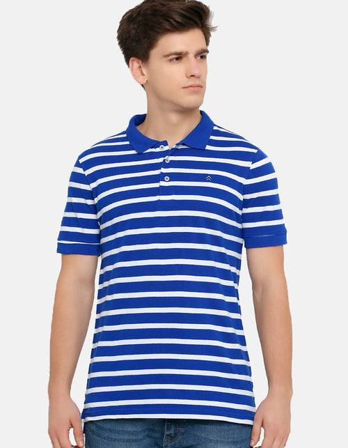 Men's White Striped Blue Polo T-Shirt