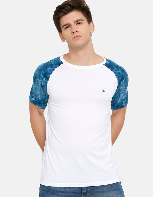 Men's White Raglan Crew Neck T-Shirt