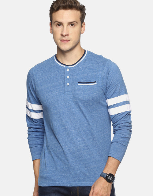 Men's Blue Henley Full Sleeve T-shirt