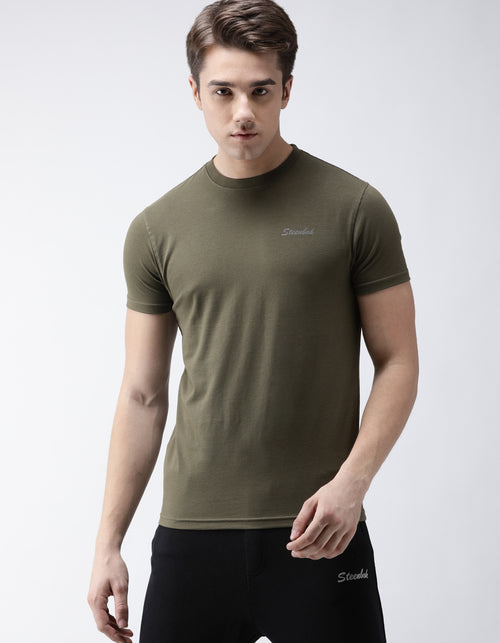 Men's Olive Green Odour-Free Crew Neck T-Shirt