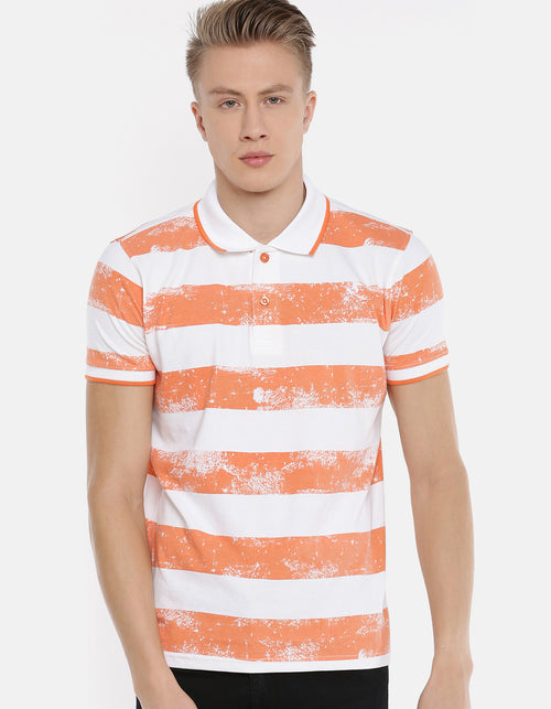 Men's Orange Color Striped Polo T-shirt