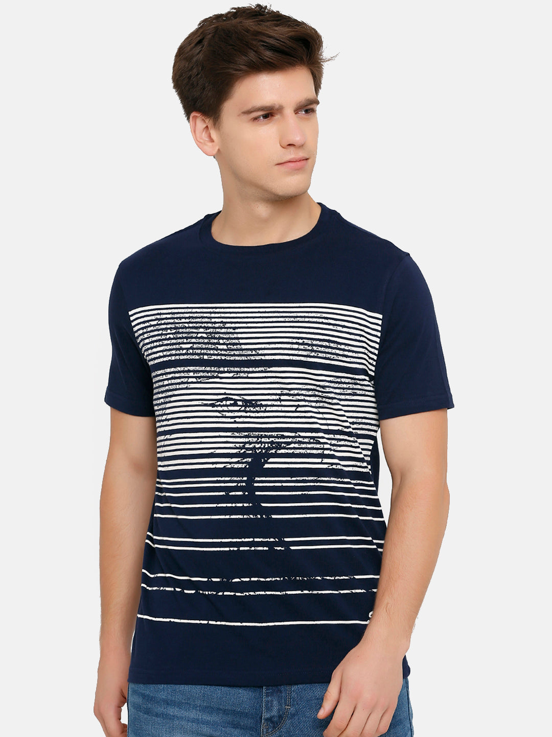 Men's Navy Printed Crew Neck T-Shirt