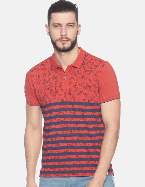 Men's Flower/Stripe Printed Polo T-shirt