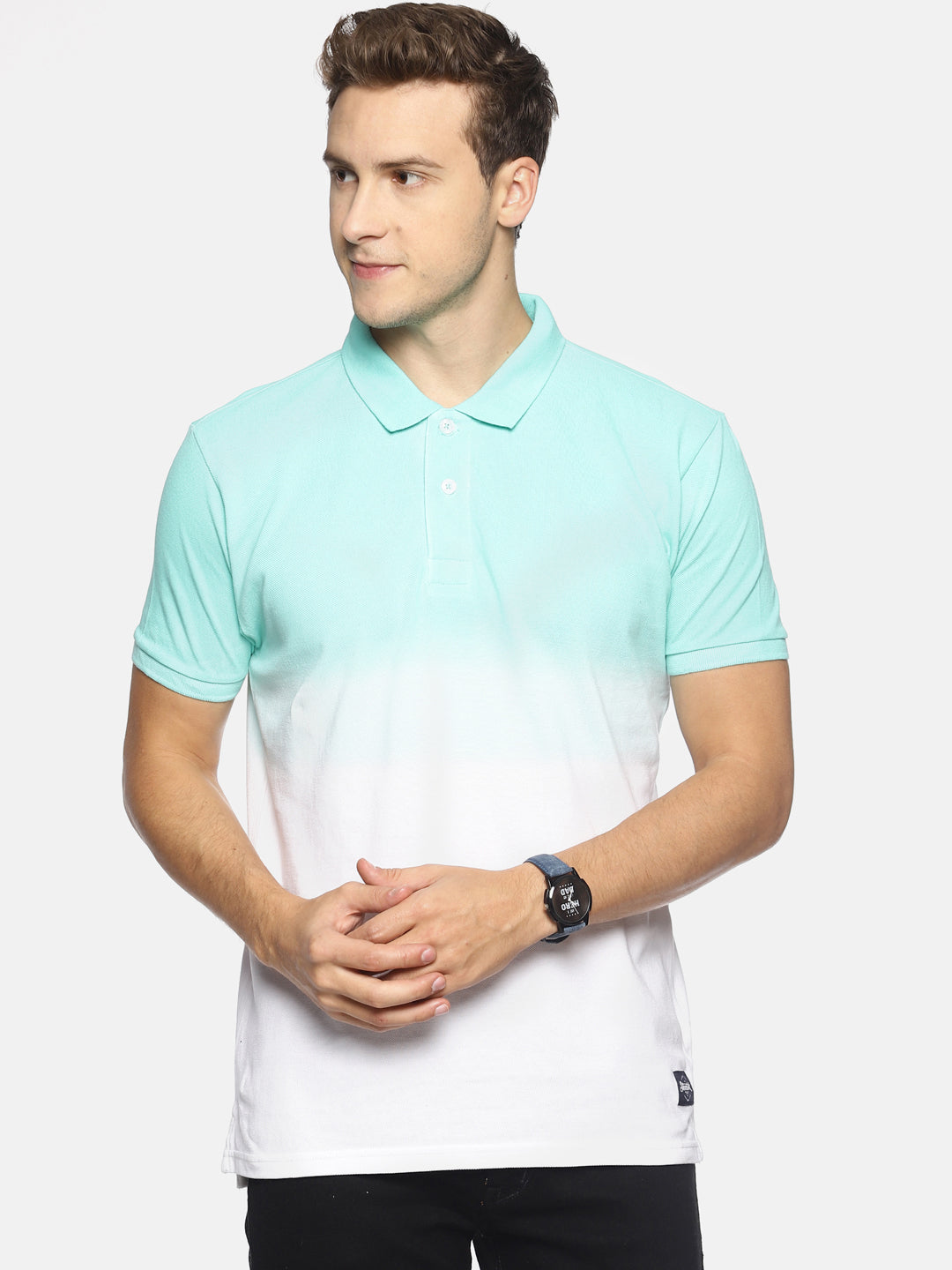Men's Blue Dip Dye Polo T-shirt