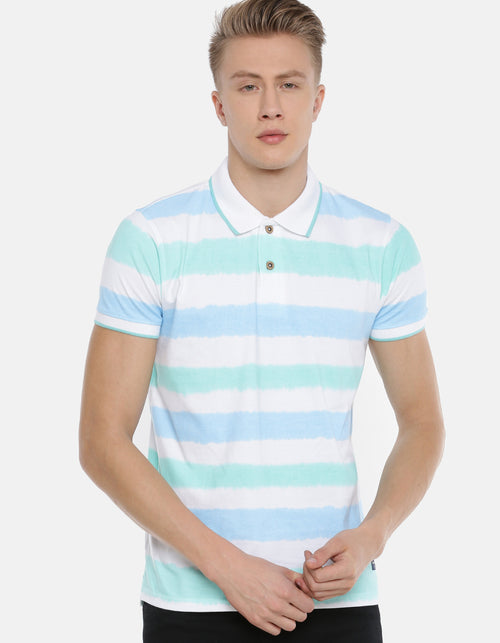 Men's Blue Striped Polo T-shirt