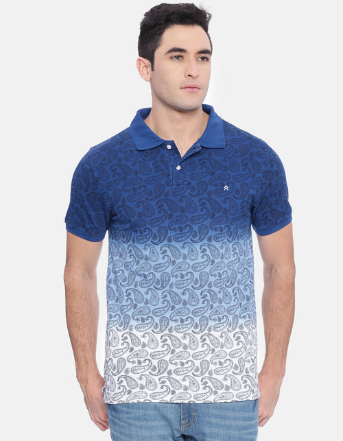 Men's Royal Blue AOP Polo T-Shirt