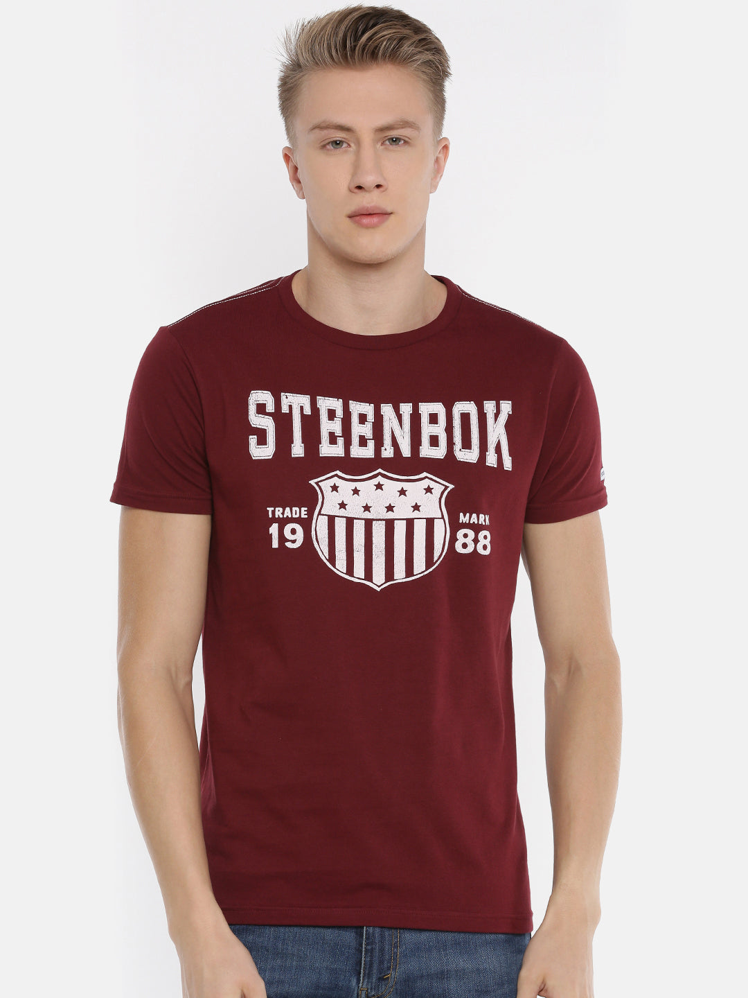 Men's Maroon Printed Round Neck T-shirt