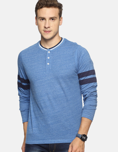 Men's Navy Blue Solid Henley Neck T-shirt