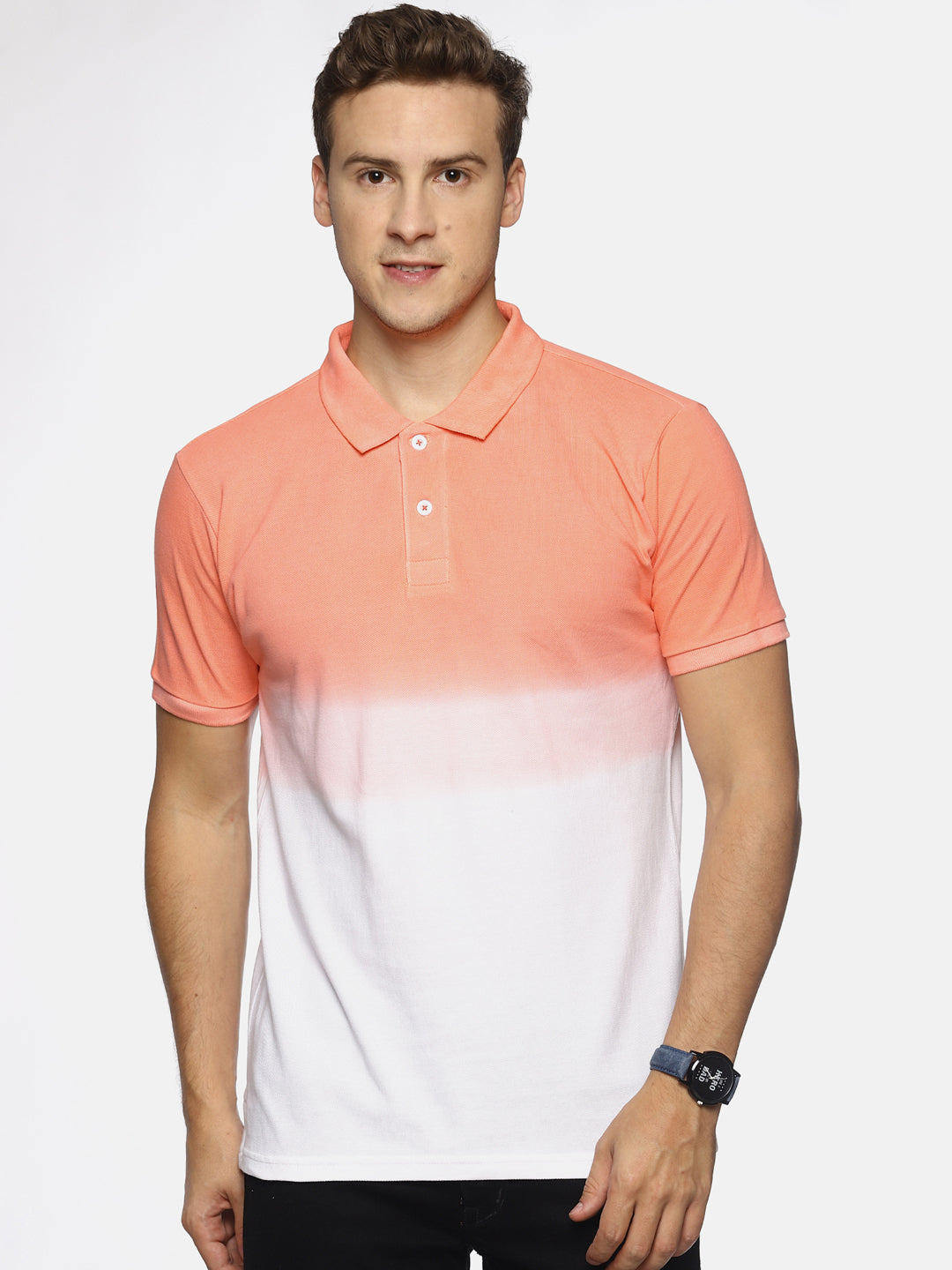 Men's Orange Dip Dyed Polo T-shirt