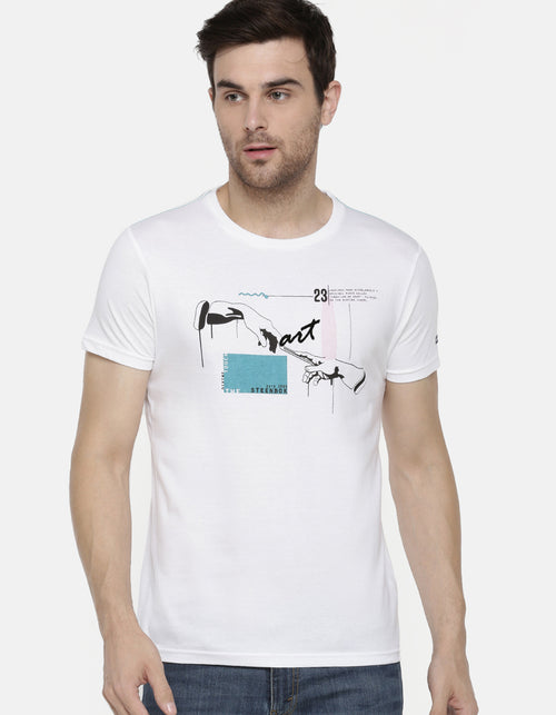 Men's White Art Printed Crew Neck T-Shirt
