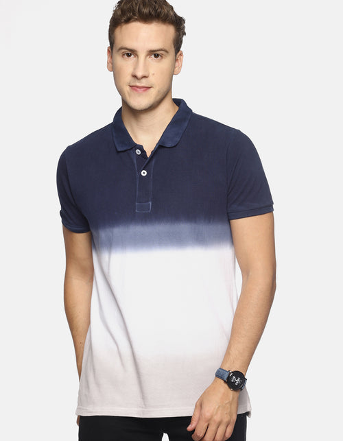 Men's Navy Dip Dyed Polo T-shirt