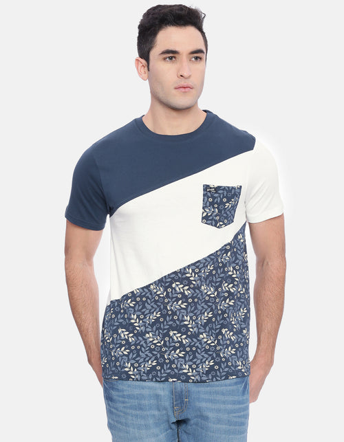 Men's Navy AOP Crew Neck T-Shirt