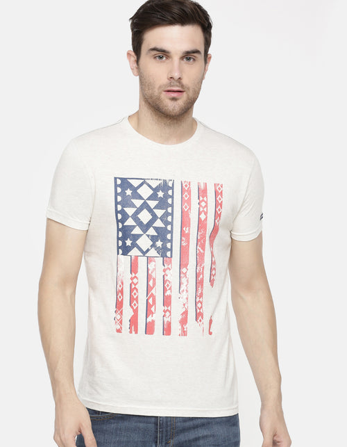 Men's Off-white Printed Crew Neck T-shirt