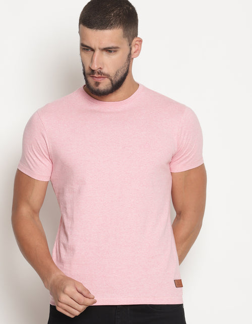 Men's Pink Melange Crew Neck T-Shirt