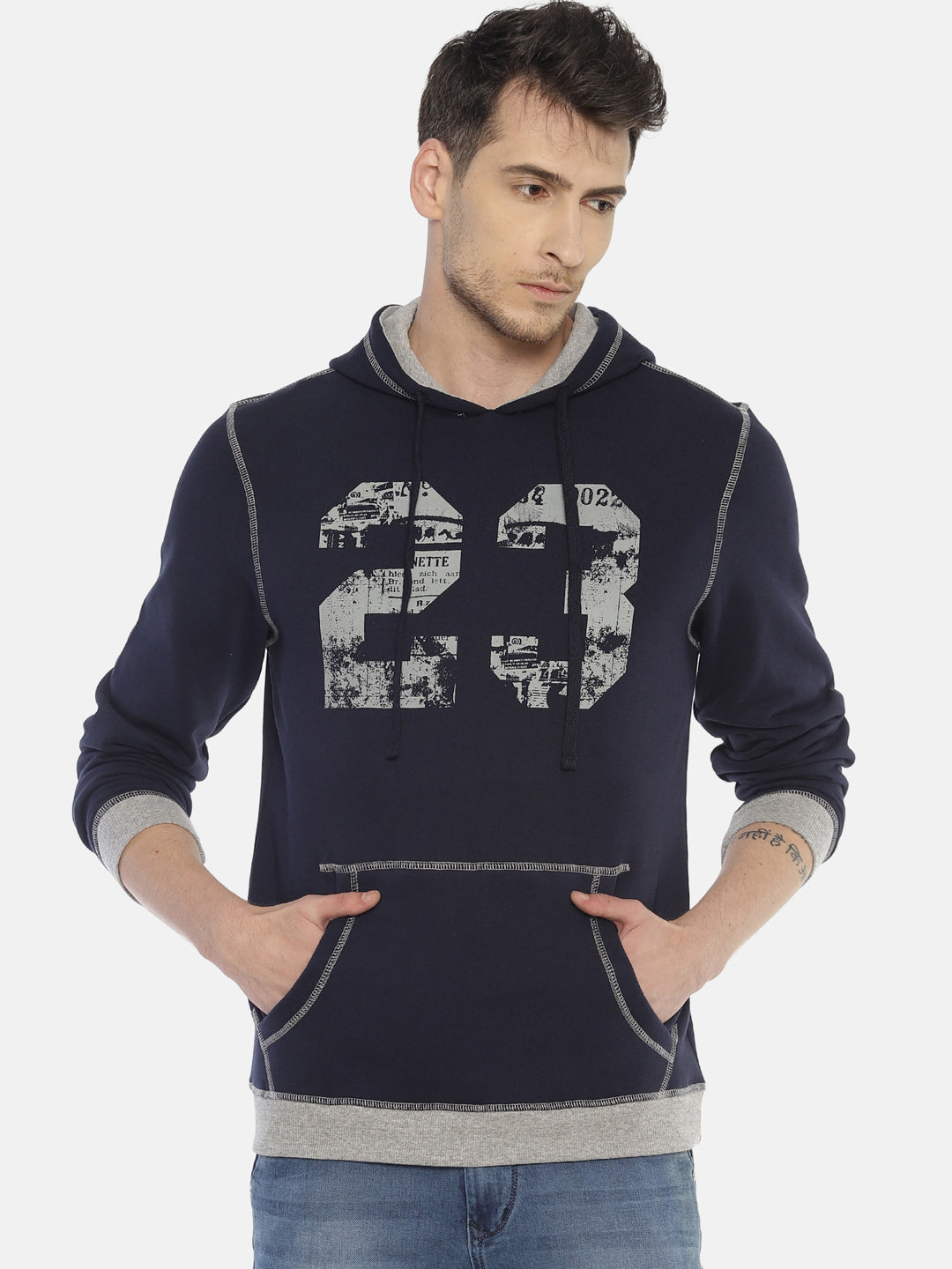 Steenbok Men's Navy Printed Hooded Sweatshirt