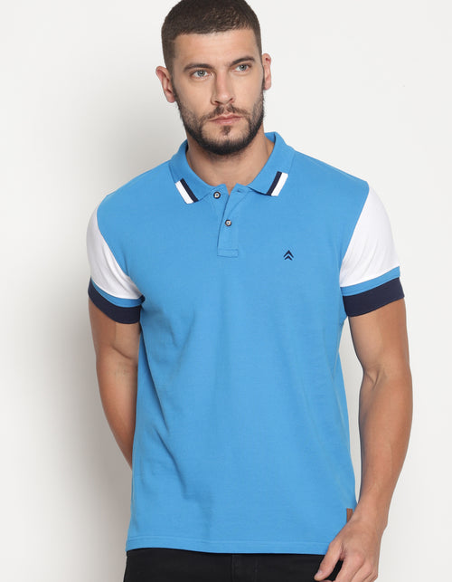 Men's Tri-Color Cut & Sew Polo T-Shirt