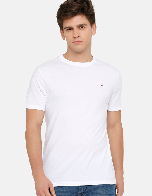 Men's White Solid Crew Neck T-Shirt