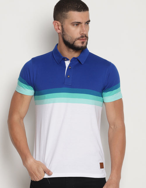 Men's Multi Color Engineering Stripes Polo T-Shirt