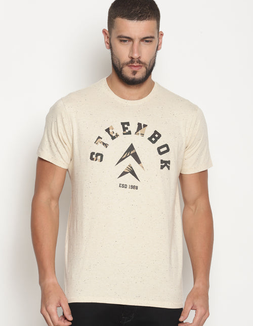 Men's Beige Printed Crew Neck T-Shirt
