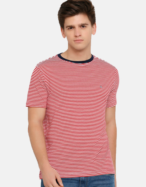 Men's White and Red Striped Crew Neck T-Shirt