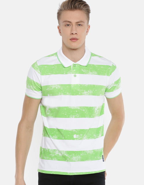 Men's Green Color Striped Polo T-shirt