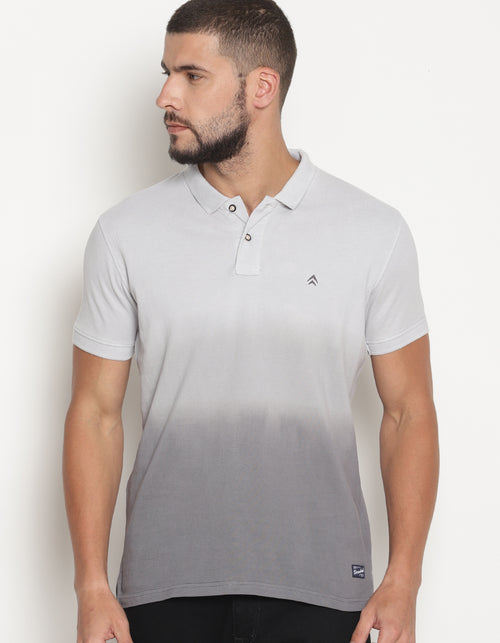 Men's Dip dye Smoke Grey Gradiation Polo T-Shirt