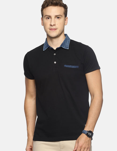 Men's Black Denim Polo T-shirt