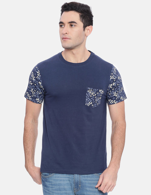 Men's Navy Solid Crew Neck T-Shirt