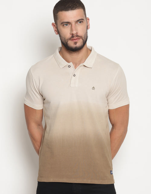 Men's Dip dye Brown Gradiation Polo T-Shirt
