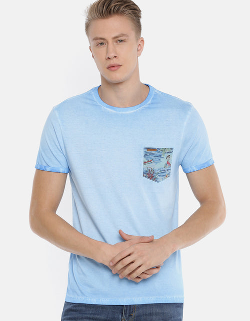Men's Blue Solid Pocket Printed Crew Neck T-shirt