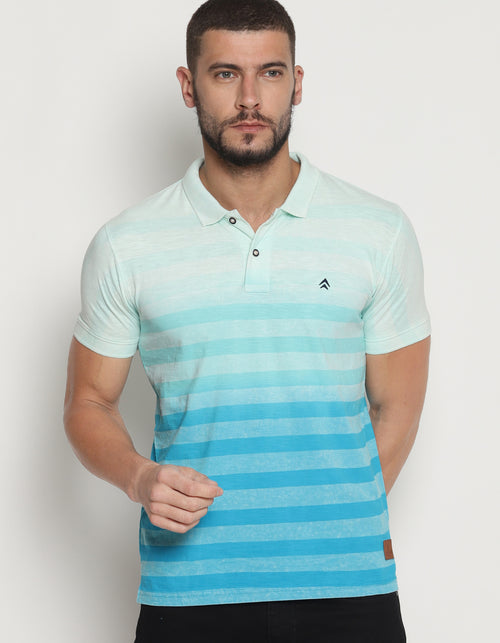 Men's Dip Dyed Striped Polo T-Shirt