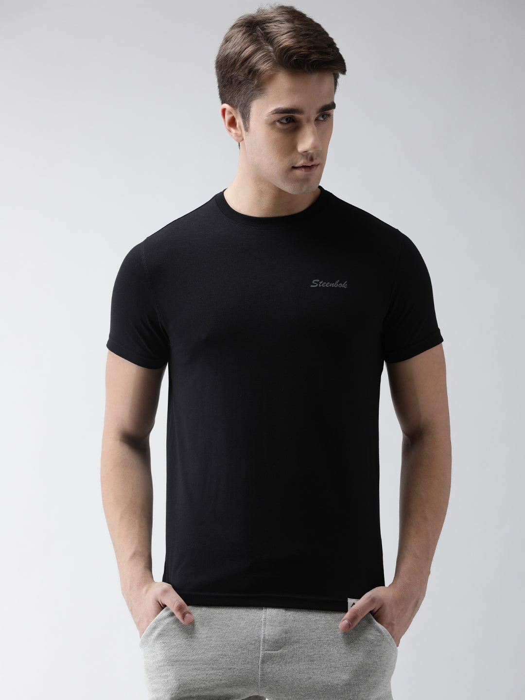 Men's Jet Black Odour-Free Crew Neck Tee