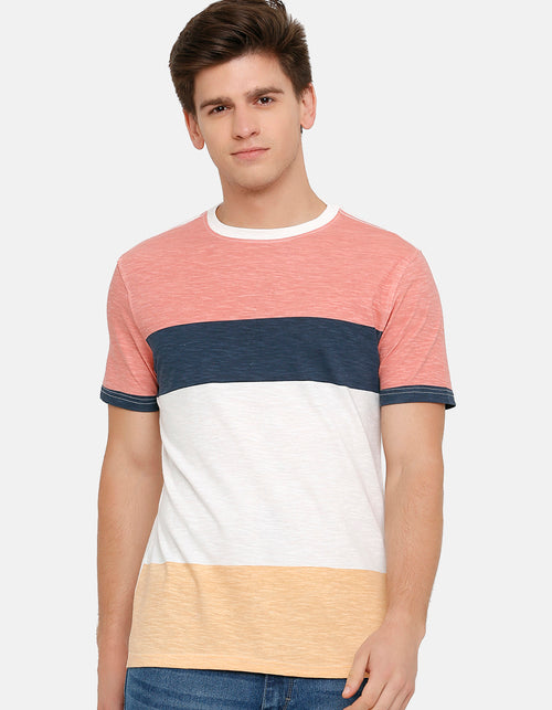 Men's Multicoloured colourblocked Crew Neck T-Shirt